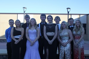 The royal court, from left to right Dylan Block, Abby Bristol, Ethan Kippen, Megan Olson, Austin Kittleson, Juliann Brandjord, Casey Tooke, Sash Peck, Wyatt Heil and Sophie Peck
