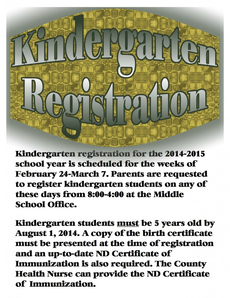 Kindergarten Registration For 2014 15